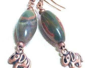 Copper Elephant Earrings red and green jasper earrings natural stone jewelry boho dangle earrings bohemian earthy jewelry whimsical earrings