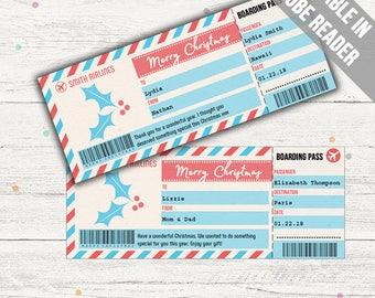 Surprise Trip Boarding Pass (Christmas Surprise Trip Ticket). Editable. Printable. Instant Download.