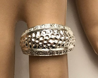 Sterling Silver Hammered cz Rhinestone Edge Dome Ring