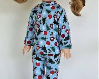 Christmas Holiday pajamas, sleepwear T-shirt leggings for dolls like Wellie Wisher doll clothes