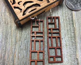 Laser cut wood earrings #11