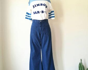 Vintage 1980s navdungaree sailor jeans - highwaisted jeans - bell bottoms -  seafarer pants W30'