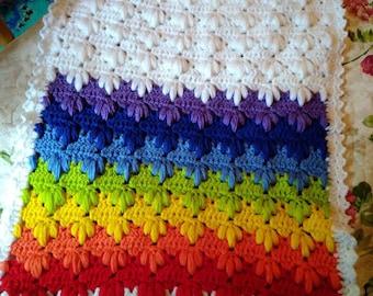 Crochet Baby Blanket Rainbow Baby Gift Rainbow Blanket Crochet Baby Afghan Rainbow Baby Gift Baby shower gift cover Crochet Afghan Blanket