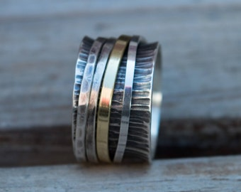 Mens ring, Cool mens ring, Spinner ring , Mens jewelry, Thump ring, Wide band ring, Rustic silver ring, Mens wedding band, Mens ring silver
