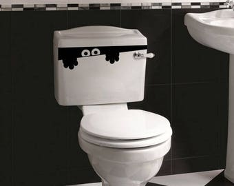 Toilet Monster Bathroom Decal Funny vinyl wall sticker