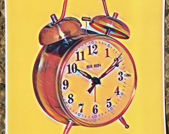 VINTAGE ALARM CLOCK graphic art print