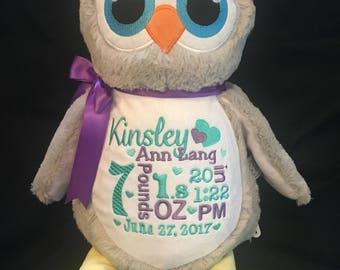 personalized stuffed animal owl, baby announcement plush animal, birth announcement stuffed animal, baby gift, baby shower gift