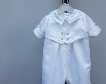 Baby Christening Romper Suit, Baptism Romper Suit. White Satin Romper, Christening Suit, Boy Romper. All-in-One Suit. 6-9 months. JQDresses
