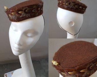 SUPER SALE!! Brown Red Pillbox Fascinator Hat Boho Chic Wool Vintage Hatpin Occasion Hat Evening Hat Church Hat Valentine Gift for Her JCN