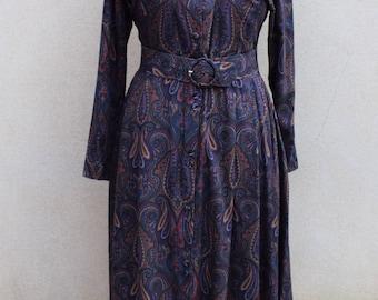 Vintage St. Michael navy paisley dress, UK 12