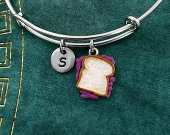 Jelly Sandwich Bracelet Painted Purple Jam Sandwich Bangle Initial Charm Bracelet Expandable Bracelet Adjustable Bangle Personalized Bangle