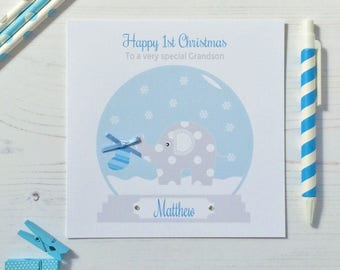 Personalised Baby's First Christmas card - Baby's 1st Christmas Card Grandson, Son, Godson, Nephew, Brother (LB180)