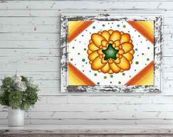 Flower Art Print Download, Large Flower Printable, Large Flower Art Prints, Kids Flower Wall Art, Bright Flower Paintings, Flower Art Print