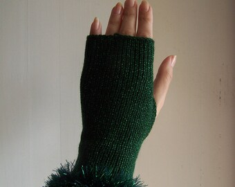knit glamour glittery sparkly green festive club fingerless gloves with sparkly faux fur trim