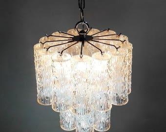 "Venini ""Trunks"" model Toni Zuccheri style 60s clear glass chandelier.Italian Murano glass.Chrome structure.Mid century modern.Pendant light."