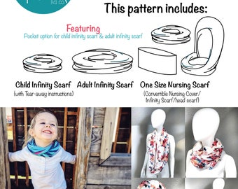 Quick! A Scarf! Sewing Pattern and Tutorial pdf sewing pattern scarf nursing scarf nursing cover infinity scarf child