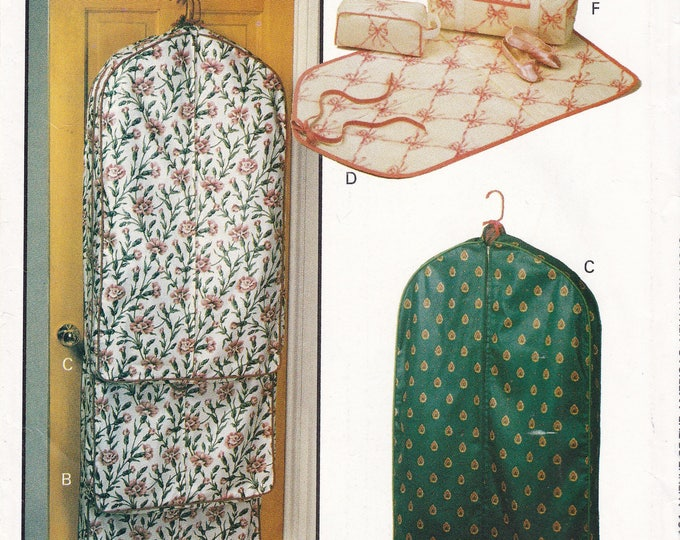FREE US SHIP Butterick 211 Crafts Sewing Pattern Garment Bag Tote Luggage Fabric Hangers Cosmetic Uncut 1992