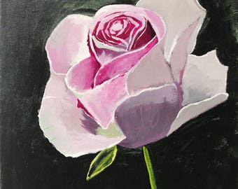 """Rose Painted In Acrylic """"12X16"""" Canvas Board 