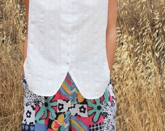 Vintage white over sized boho chic vest top shirt.