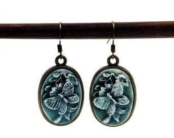 Butterfly earrings - Resin butterfly - Green butterfly