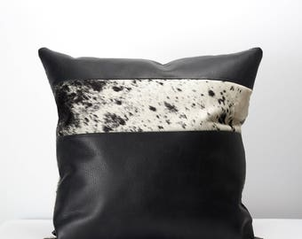 Black Dual Leather Cowhide Cushion. Couch Decoration, Lounge, Bench, Sofa Cushion Covers, Custom Size, Pillow. Personalized Gifts For Men.
