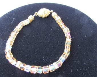 Hand Made Crystal Bracelet with Swarski rondels 7 7/8""
