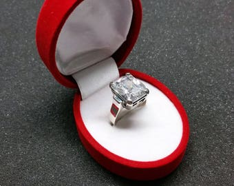19.2 mm ring 925 Silver large Crystal stone square SR886