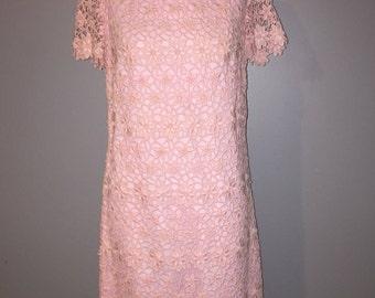 1960's pink floral dress size 12