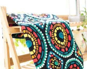 Throw blanket,Crochet blanket, Mosaic Afghan ,Moroccan Afghan, Crochet tile blanket,Crochet Throw, Crochet Afghan