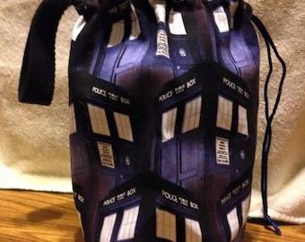 Tardis Sock Knitting Project Bag
