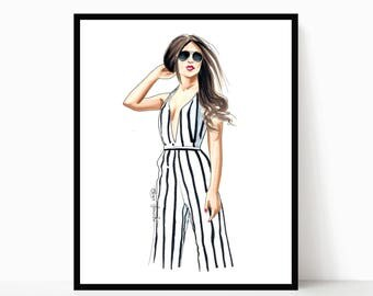 fashion art print - fashion illustration - fashion wall art - gifts for her - wall art home - stripes jumpsuit