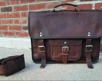 "Leather Messenger Bag. 15"" Mens Leather Bag. Leather Briefcase. Leather Attache with Top Handle. Men's Bags"