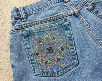 Vintage High Waisted Shorts With Hand Embroidered Mandala