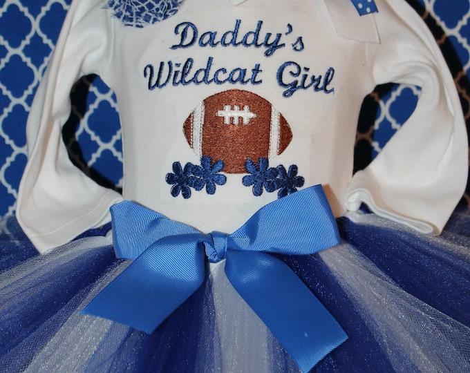 University of Kentucky Wildcat Girl outfit, Kentucky Wildcats Football bodysuit, UK, Blue and white tutu, Kentucky Wildcats Blue Headband