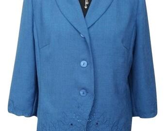 Vintage Jacket UK Size 10 Blue Floral Eastex 1990s Evening Formal Wedding Office Blazer