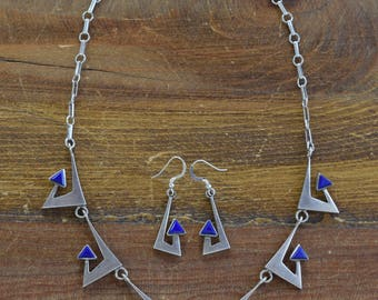 Vintage Sterling Silver Blue  Necklace and Earring Set