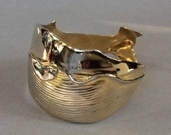 Brass Gold Tone Right Whale Cuff Bracelet
