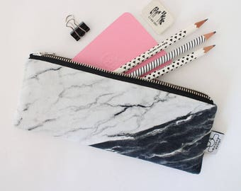 Marble pencil case or marble zipper pouch by ANJESYdesign