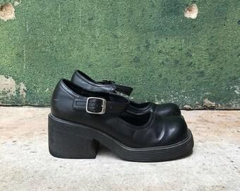 Vintage 1990's Black Platform Chunky Heel Mary Janes | 6