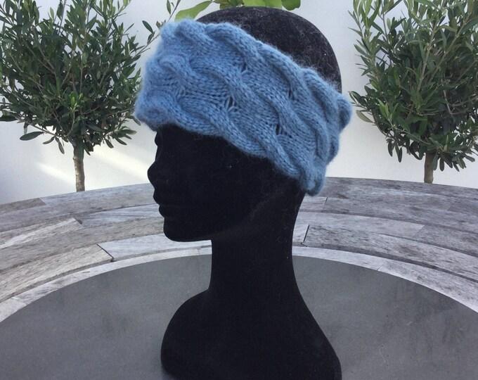 Alpaca headband, ear warmer in blue by Willow Luxury