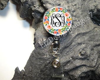 Floral Retractable Badge Holder,Personalized Badge Reel,Monogram Badge Reel,Monogram Badge Holder,Monogram Stethoscope Id Tag -Style 541