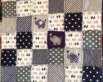 Appliqué Quilt, Elephant Quilt, Baby Boy Quilt, Handmade Baby Quilt, Baby Rag Quilt, Elephant Bedding, Baby Blanket, Nursery, Crib Quilt