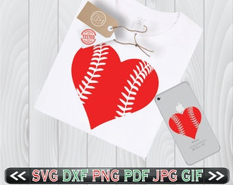 Baseball Heart Stitches SVG Files Laces Designs- Baseball Lace Heart SVG - Baseball Silhouette SVG - Instant Download