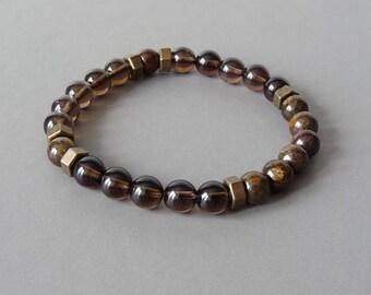 Men Bracelet, Smoky Quartz Bracelet, Beads Bracelet, Jasper Bracelet, Stone Bracelet, Elastic Bracelet, Beaded Bracelet, Elegant Bracelet