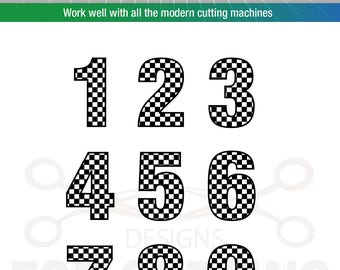 Checkered Numbers, Studio3, Svg, Dxf, Eps, Ai. Jpg. Png. Pdf. Digital Files, Instant Download. 688