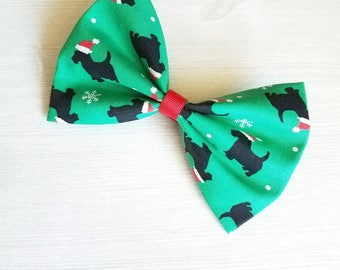 Scottie Dog Hair Bow, Christmas Hair Bow, Girls Xmas Bow, Girls Fabric Bow, Girls Xmas Clip, Girls Barrette, Toddler Hair Bow, Red and Green