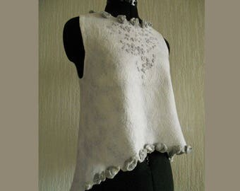 Felted Top, White Top, Silk and Merino nuno Felted Sleeveless Top, Spring, Summer Blouse, Cocktail Top, OOAK  Free shipping