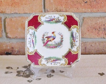 Myotts Royal Crown Staffordshire 'Chelsea Birds' 1930s square side, bread, butter plate