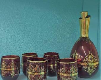 Vintage Cranberry Decanter & Glass Set