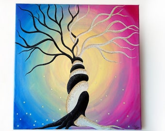 Acrylic painting, 50x50 cm Canvas, Yin Yang Tree paint, Single tree art, House deco, Original canvas, Tree of life painting, Colourful Tree